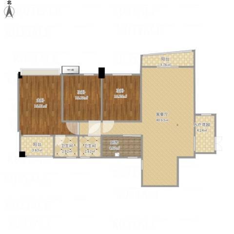 德化群盛翰林府邸3室1厅2卫1厨132.00㎡户型图