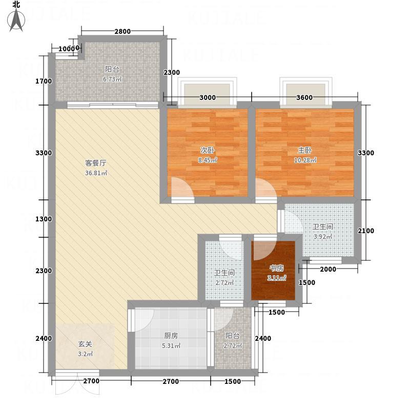 翰林雅苑3.47㎡D4户型3室2厅2卫1厨