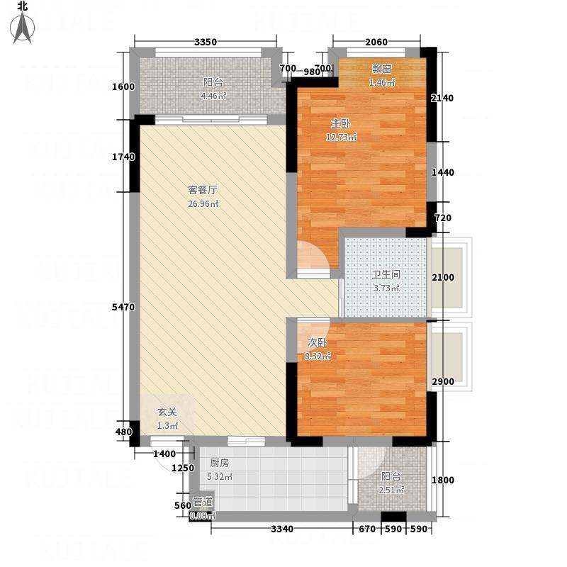 宫和御府香山67.00㎡高层3-10号楼标准层E2户型2室2厅1卫1厨