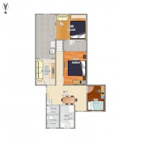 扬子十一村2室1厅2卫1厨95.00㎡户型图