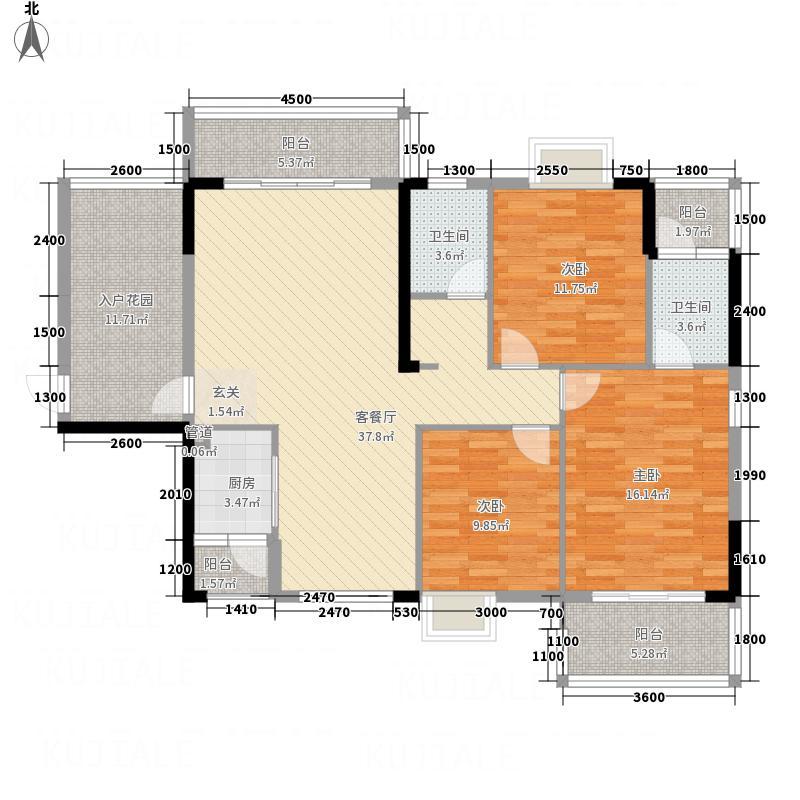 皇家帝王广场31.20㎡3#1单元3室户型3室2厅1卫1厨