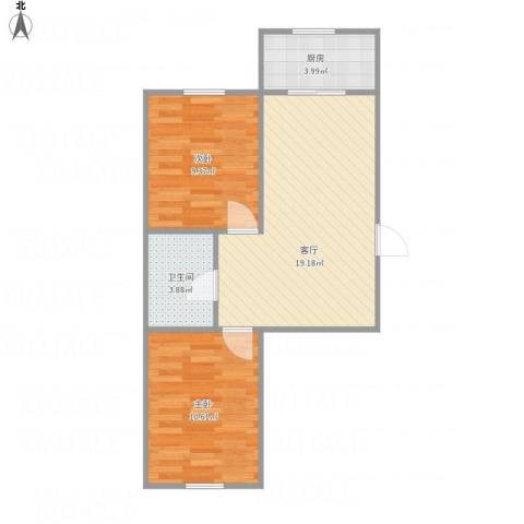 泡崖四区2室1厅1卫1厨63.00㎡户型图