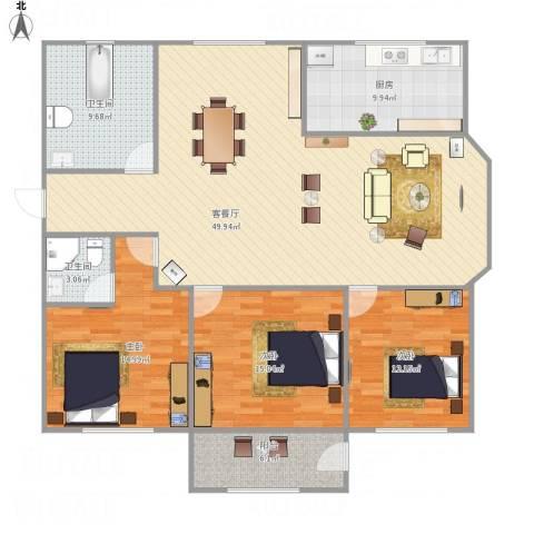 中泰世纪广场3室1厅2卫1厨161.00㎡户型图