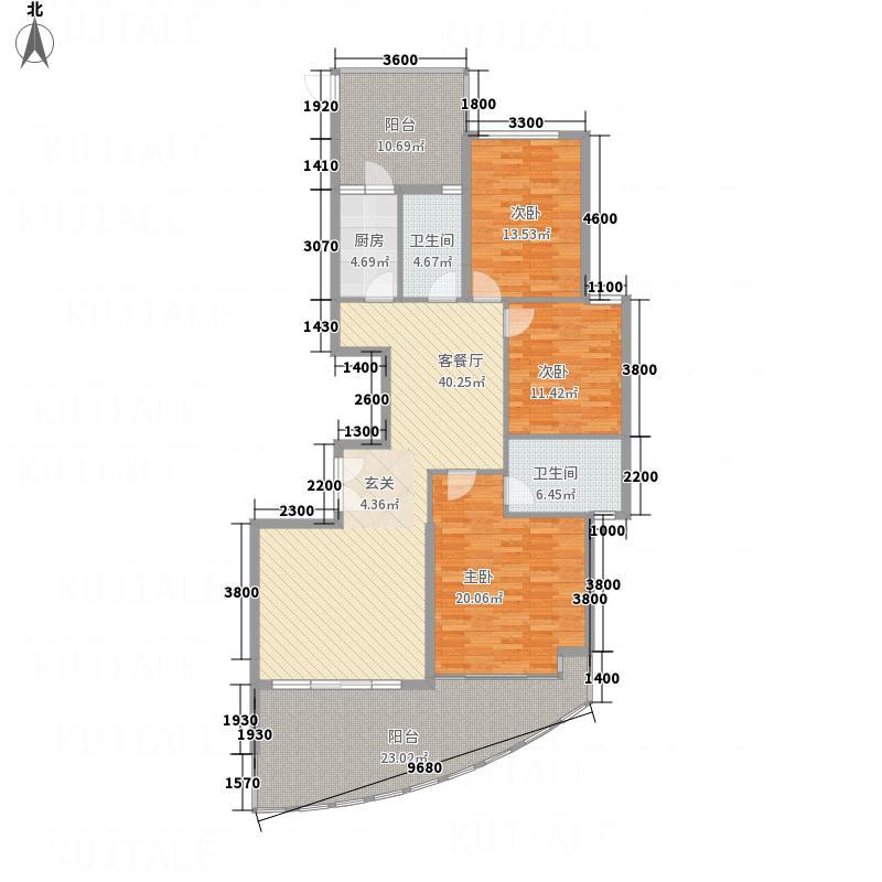 海逸一号152.50㎡1―5#楼12―28偶数层B户型3室2厅2卫1厨