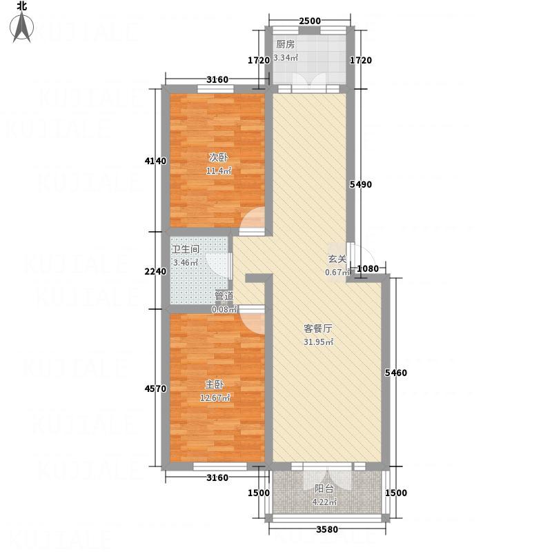 溪山美地7.00㎡D户型2室2厅1卫1厨