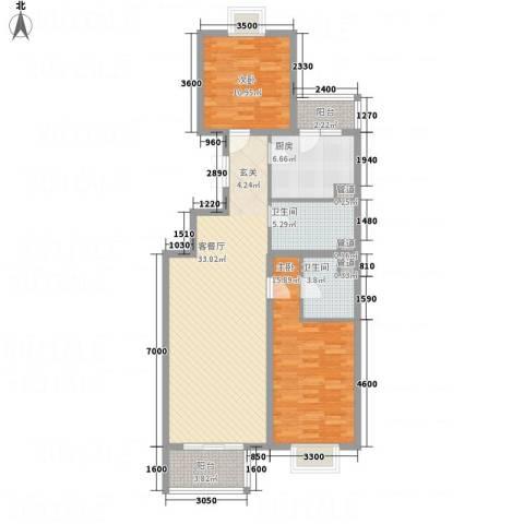 西安大洋商厦2室1厅2卫1厨118.00㎡户型图