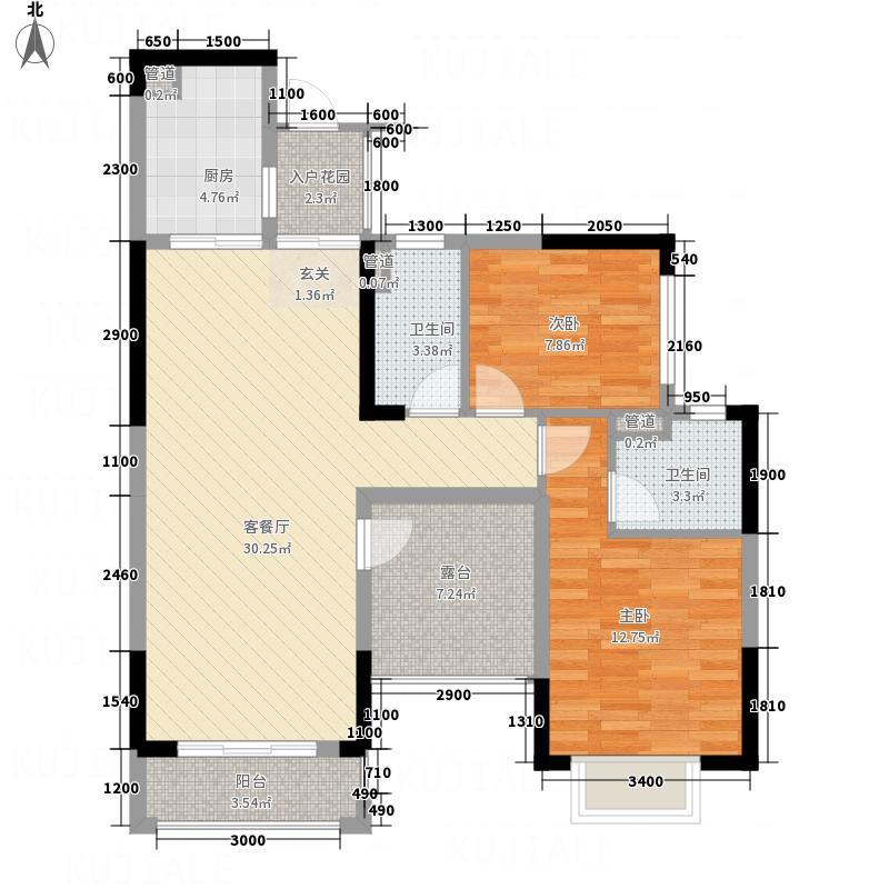 星城翠珑湾4.00㎡优雅舞曲13栋1、2单元户型2室2厅2卫1厨