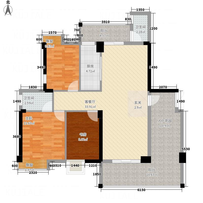 宏达广场14.00㎡A/B栋02户型3室2厅2卫1厨