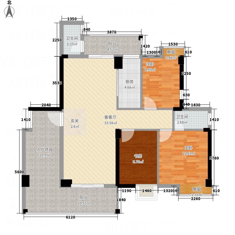 宏达广场14.00㎡A/B栋01户型3室2厅2卫1厨