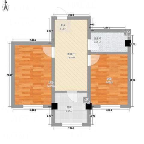 紫金城三期2室1厅1卫1厨58.00㎡户型图