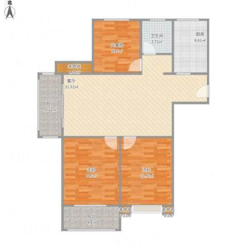 巴黎都市3室1厅1卫1厨121.00㎡户型图