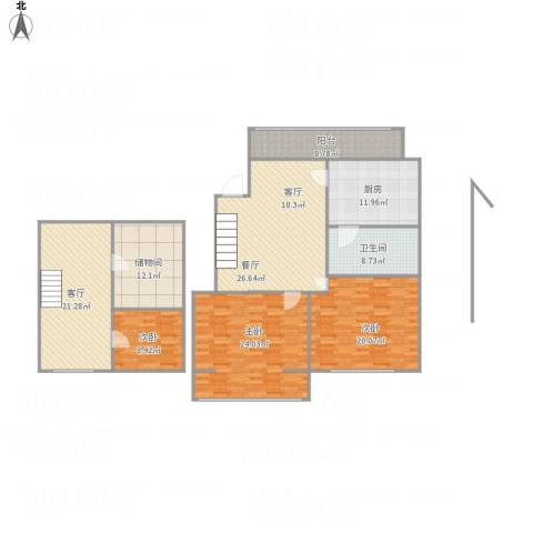 天福园3室2厅1卫1厨189.00㎡户型图