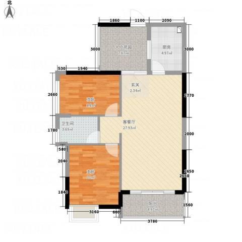 诚丰怡园2室1厅1卫1厨98.00㎡户型图