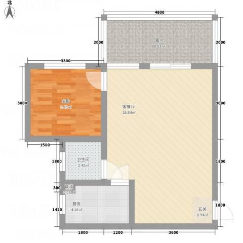 西安大洋商厦1室1厅1卫1厨72.00㎡户型图