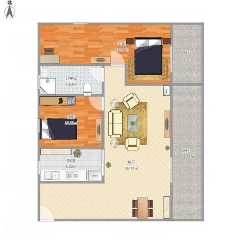 御景城市花园2室1厅1卫1厨128.00㎡户型图