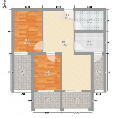 永康城市花园2室1厅1卫1厨77.00㎡户型图