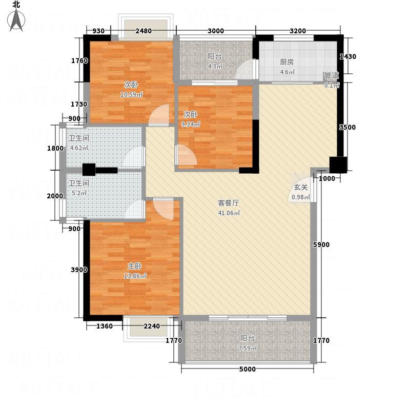 角美龙泉・华庭13.00㎡9#楼04户型3室2厅2卫1厨