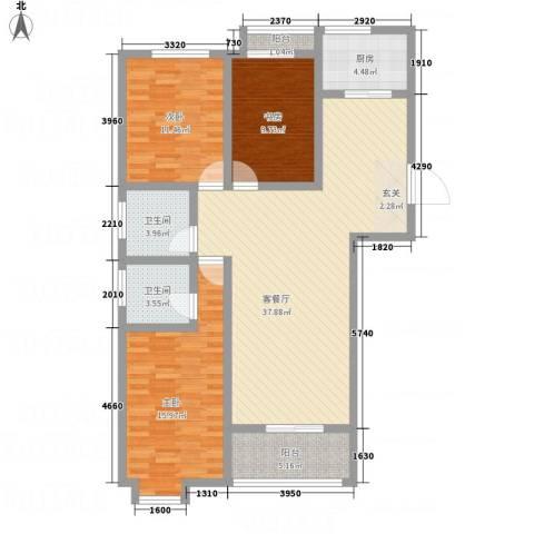 逸境华府3室1厅2卫1厨135.00㎡户型图