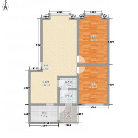 福泽源2室2厅1卫1厨112.00㎡户型图