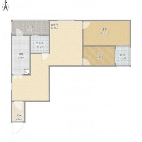 金顶街三区2室1厅1卫1厨104.00㎡户型图