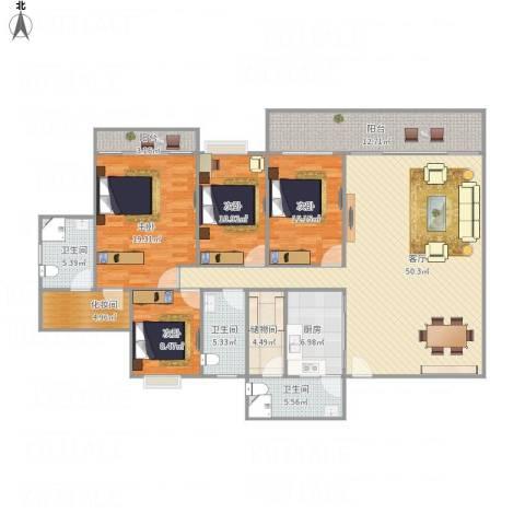 康格斯花园4室1厅3卫1厨201.00㎡户型图