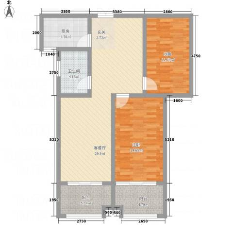逸境华府2室1厅1卫1厨75.10㎡户型图