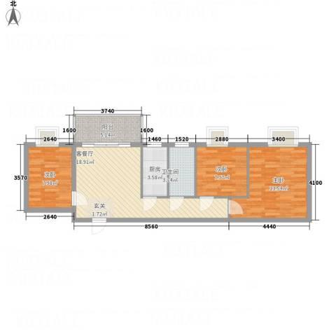 腾庆卡达凯斯山水城3室1厅1卫1厨78.00㎡户型图