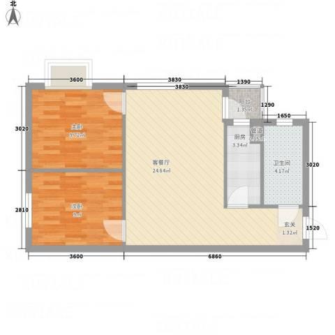 腾庆卡达凯斯山水城2室1厅1卫1厨64.00㎡户型图
