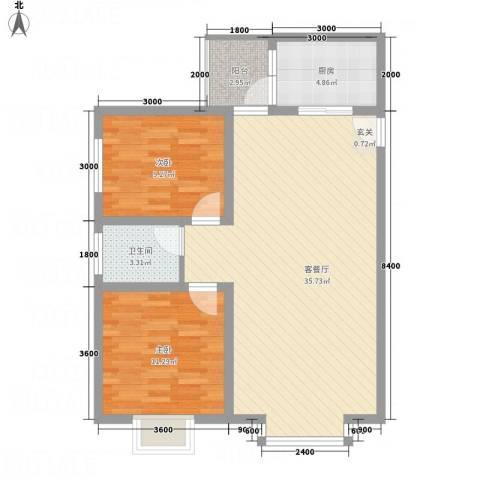 福泽源2室1厅1卫1厨96.00㎡户型图
