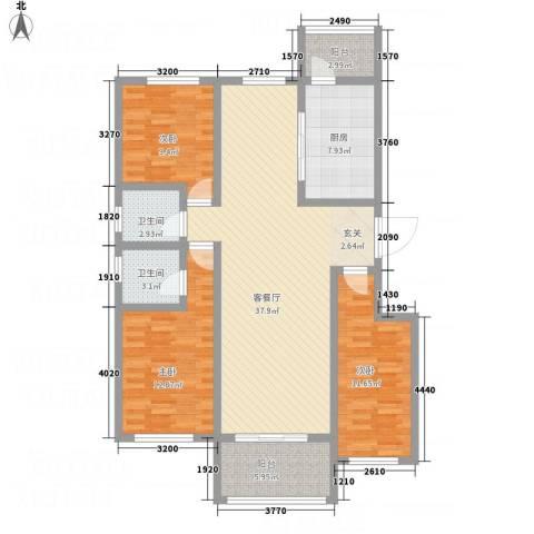 逸境华府3室1厅2卫1厨138.00㎡户型图