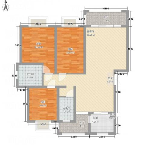 腾庆卡达凯斯山水城3室1厅2卫1厨97.01㎡户型图