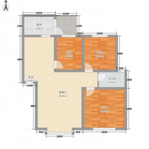 福泽源3室1厅1卫1厨124.00㎡户型图