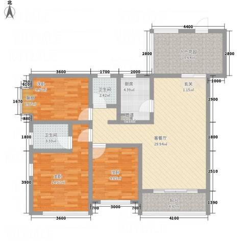 五洲国际3室1厅2卫1厨129.00㎡户型图