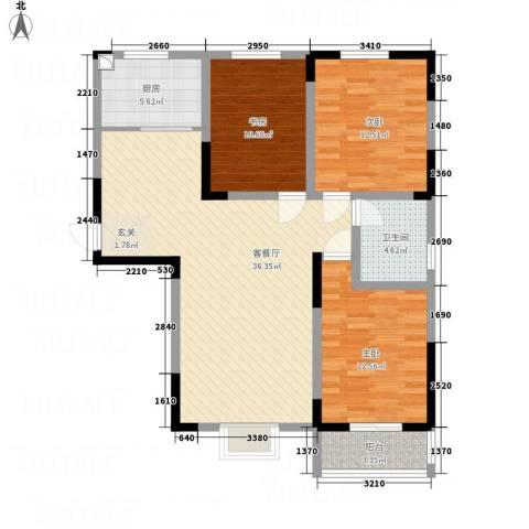 锦荣御景龙湾3室1厅1卫1厨123.00㎡户型图
