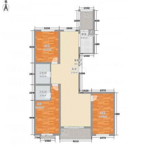 碧水云天颐园3室1厅2卫1厨148.00㎡户型图