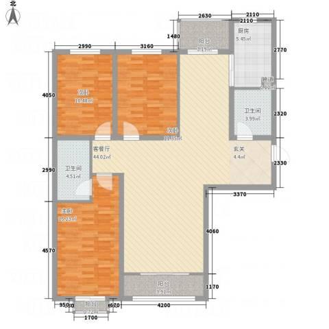 碧水云天颐园3室1厅2卫1厨146.00㎡户型图