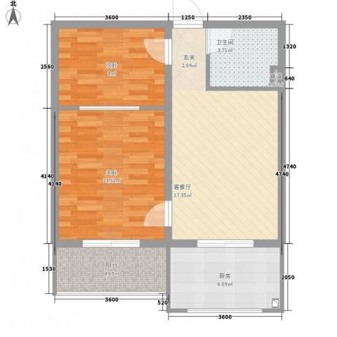 上善水苑2室1厅1卫1厨67.00㎡户型图