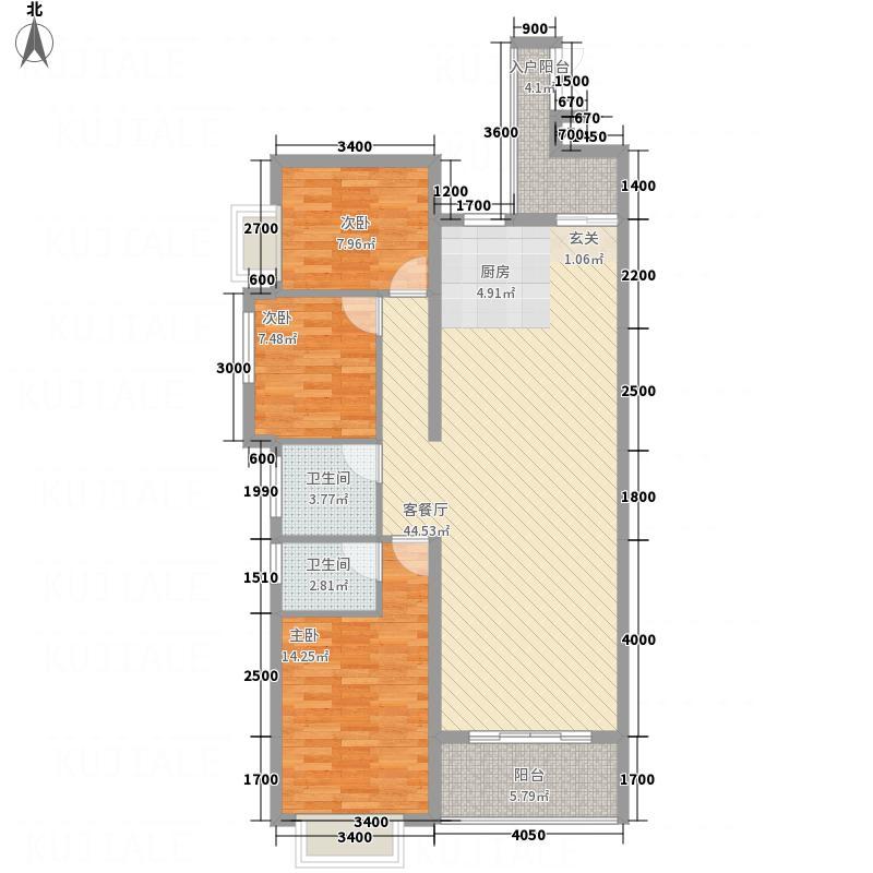 金视・中央公馆113.73㎡A户型3室2厅2卫1厨