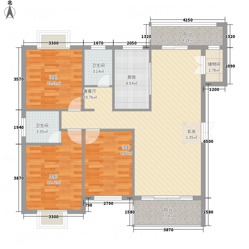 东方名邸亿利城13127.32㎡户型3室2厅2卫1厨