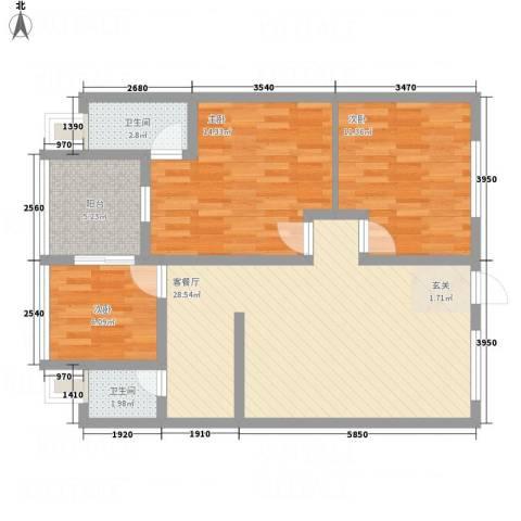巨银花园3室1厅2卫0厨70.34㎡户型图