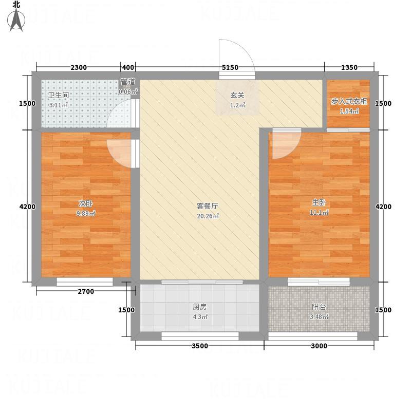 百合紫郡8.00㎡28#B户型2室2厅1卫1厨