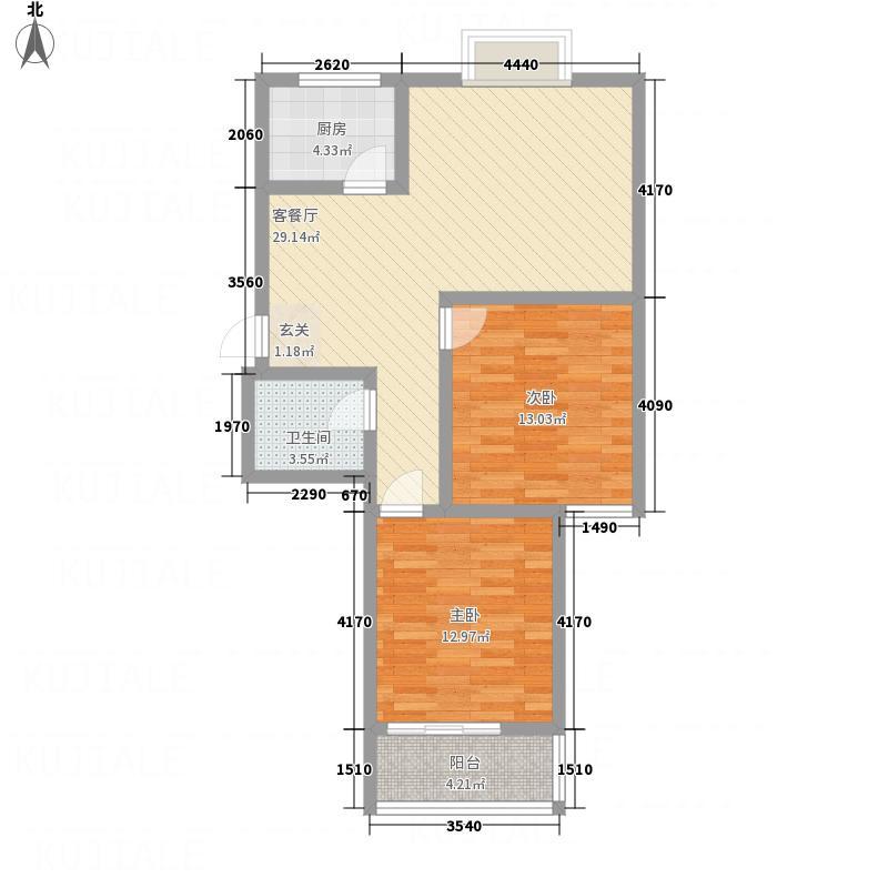 梨园佳境7.26㎡户型2室2厅1卫1厨