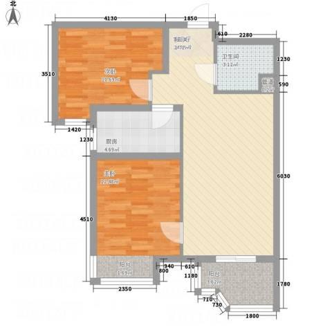 天玺国际2室1厅1卫1厨84.00㎡户型图