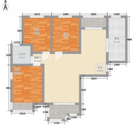 天玺国际3室1厅1卫1厨124.00㎡户型图