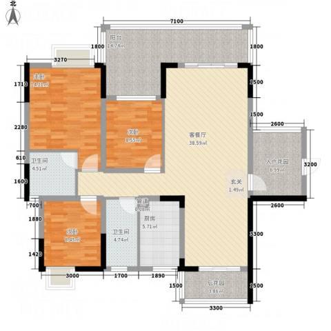 翁江新城3室1厅2卫1厨110.41㎡户型图
