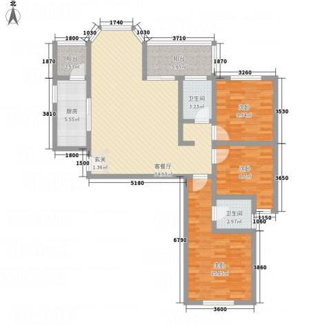 华韵新天地3室1厅2卫1厨89.37㎡户型图