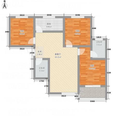 华韵新天地3室1厅2卫1厨71.85㎡户型图