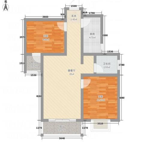 华韵新天地2室1厅1卫1厨86.00㎡户型图