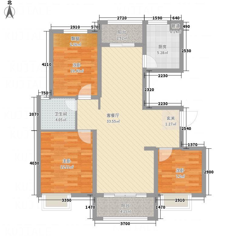 远洋香奈河畔F户型2厅2卫1厨