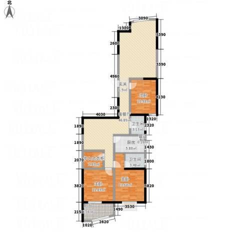 名湖雅居3室1厅2卫1厨153.00㎡户型图